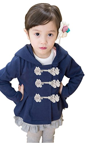 Infant Toddlers Cotton Flower Clasp Button Top with Hats Navy, US 6T-7T(130) (Santa Hoodie)