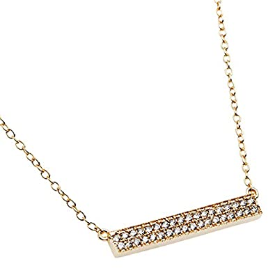 Beaux Bijoux Sterling Silver Gold-Plated 16 2 Extension CZ Double-Row Bar Necklace