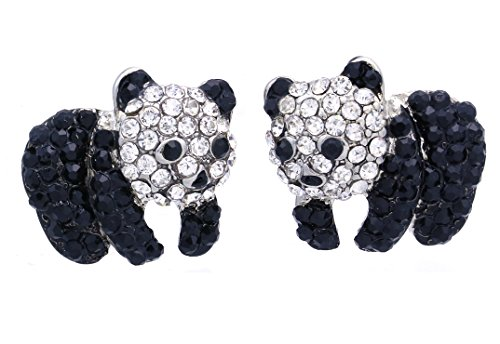 Soulbreezecollection Black White Panda Bear Stud Post Earrings for Women Fashion Jewelry