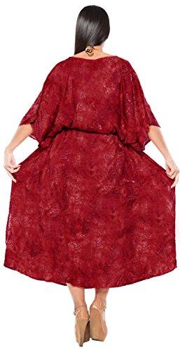 La Leela rayonne la main batik maillots de bain bikini Beachwear femmes couvrir caftan robe rouge