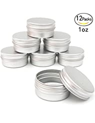 Healthcom 1oz Metal Tin Steel Flat Silver Metal Tins Jars Empty Slip Slide Round Tin Containers With Tight Sealed Twist Screwtop Cover,12 Pcs