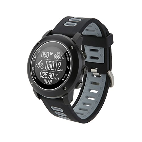 GPS Hiking Bluetooth Smart Watch, Adventurer Outdoor Sports IP68 Waterproof Watch,Multi-function Mode,for Tracking Running,Hiking,Heart Rate Monitor,SOS,Compass,USB Charging,Connect with APP (Black) (Marathon Heart Rate Monitor)