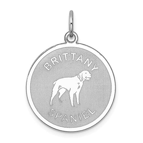 (925 Sterling Silver Rhodium-plated Brittany Spaniel Disc)
