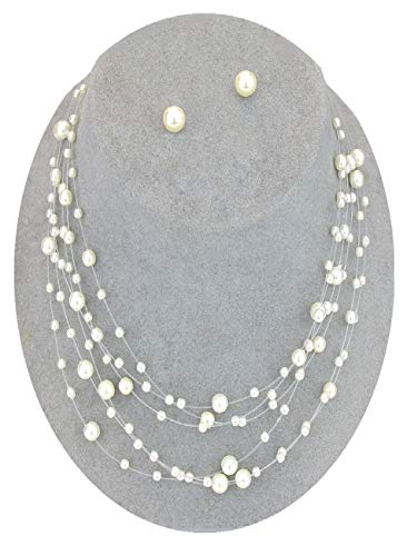 Christina Collection Multi-Strand Pearl Illusion Necklace Set Floating Boxed (Dr#4) - Boxed Above