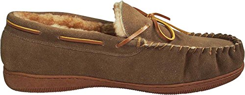 NORTY Mens Genuine Leather Cowhide Suede Slippers - Moccasin Slip On Loafer - Lux Plush Fur Lining Taupe X1BibSspm