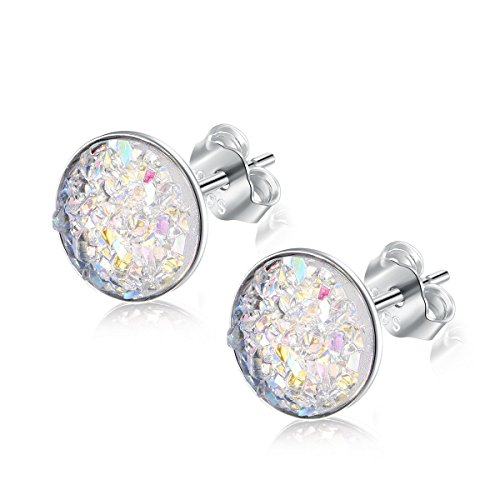 EVERU Sterling Silver Round Druzy Stud Earrings, 4 Colors Options, 8mm (White)