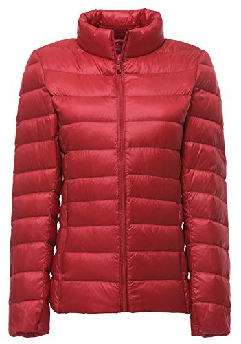 - Sawadikaa Women's Ultra Light Packable Winter Down Puffer Jacket Coat Quilted Lightweight Down Parka Jacket Red Small