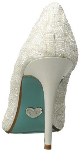 Blue by Betsey Johnson Women's Sb-Clair Pump Ivory Satin 01y03B
