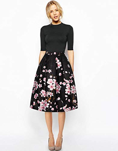 Women's/Big Girls' Flared Pleated Skater Midi Skirt Peach Blossom Knee Length Black Fit For Over 14 Years Old by ABCHIC (Image #4)