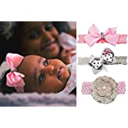 Headbands 4  Hair Bow Elastics Lace Flower Hair Bands Set for Baby Girls and Toddlers 3 pack