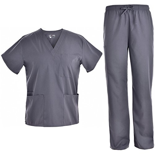 Unisex V Neck Scrubs Set Medical Uniform - Women and Man Nursing Scrubs Set Top and Pants Workwear JY1601(Pewter, L)]()