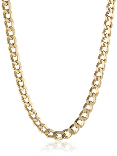 14K Solid Yellow Gold 3.8mm Cuban Curb Link Chain Necklace- Lobster Claw Clasp (Yellow, 30) ()