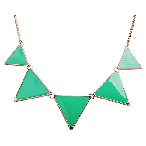 Jane Stone Personalized Bubble Bib Necklace Fashion Statement Emerald Jewelry Chunky Triangle Necklace Party (Womens Chunky Jewelry)