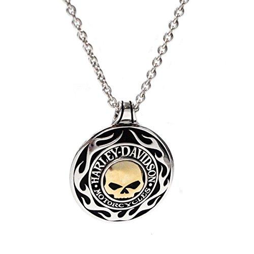 Harley-Davidson Mens Willie G Skull Flames Medallion Necklace