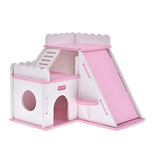 Dwarf Hamster Hideout Hut House DIY Wood Hut for Small Animals like Dwarf Hamsters, Chinchillas, Guinea pigs, Mouse, Rat Nest Toys (PINK)