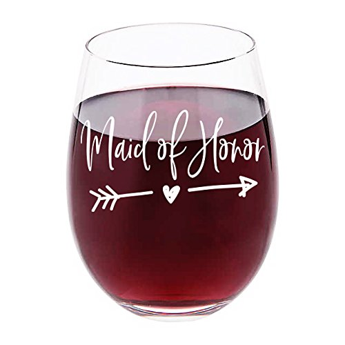 Honor Glass - (White Imprint) Maid Of Honor Wine Glass - 17 oz Stemless Wine Glass - Maid of Honor Proposal Gift