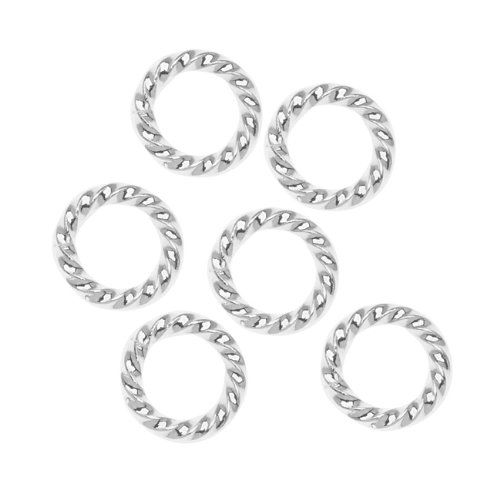 Nunn Design Silver Plated Open Jump Rings Twist 11.5mm 14 Gauge (10) - Silver Open Twist