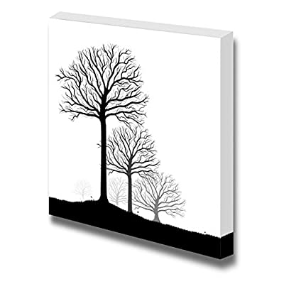 Canvas Prints Wall Art - Abstract Black Trees in Clean and Simple Style | Modern Wall Decor/Home Decoration Stretched Gallery Canvas Wrap Giclee Print & Ready to Hang - 16