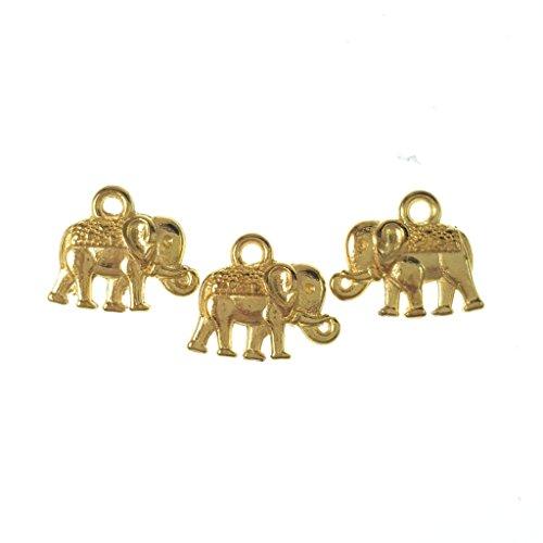 Scrapbook Charm Bracelet (25pc Gold Tone Elephant Charms- Pendants- Jewelry Making- Lead Nickel Free- 14mm)