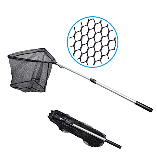 Made Simple Aluminum Fishing Landing Net, Collapsible Fold-able 2 Section Telescopic Handle, Premium Nylon Material Net, Strong Light Durable Perfect Catch Release, 63