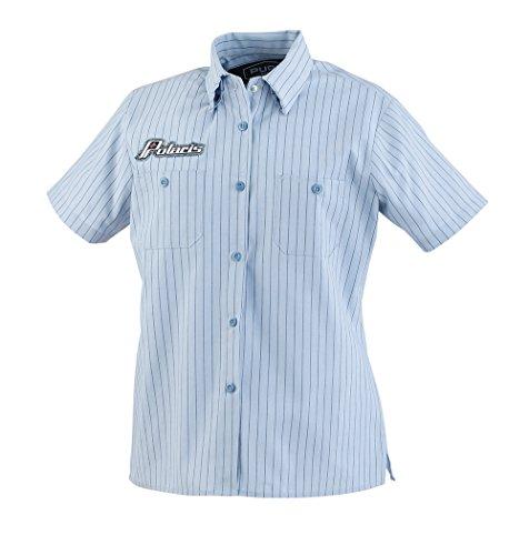 (Polaris OEM Light Blue Pinstriped Retro Short Sleeve Pit Shirt - Medium)