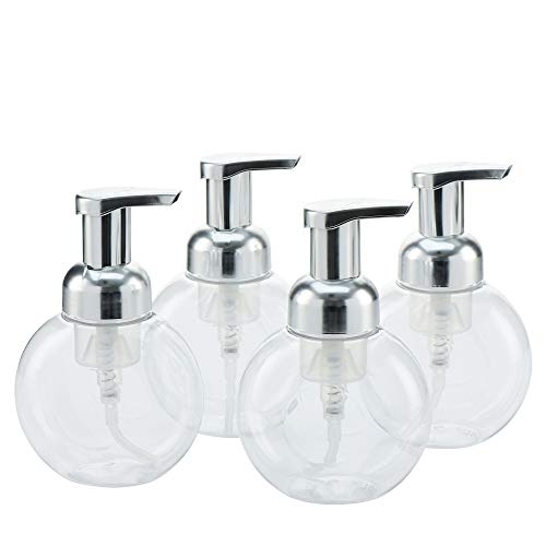 MHO Containers | Clear Foaming Soap Dispenser with Matte Silver Pump, Locking Mechanism, BPA/Paraben Free PET Plastic, 250mL/8.5fl oz - Set of 4