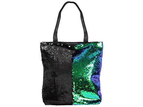 Pailletten Shopper Tasche Geräumige Strandtasche mit Wendepailletten 37 cm x 34 cm mit Reißverschluss Shopperbag Tragetasche Schultertasche von Alsino, Variante wählen:TT-P06 rainbow silber Tt-p02 Grün Schwarz