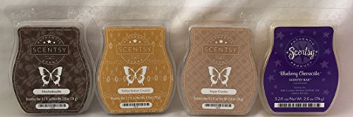 Scentsy Mochadoodle Sugar Cookie Toffee Butter Crunch and Blueberry Cheesecake 4 Bar Bundle