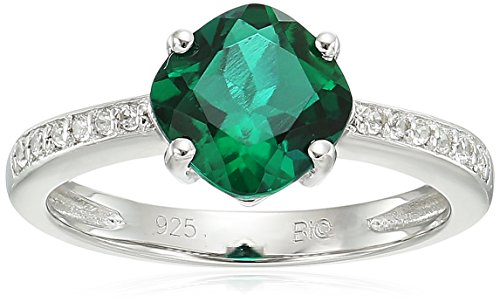 Sterling Silver Lab-created Emerald and Lab-created White Sapphire Ring, Size 6 (Sapphire Created Lab Ring)