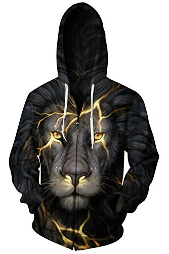 Gludear Unisex Realistic 3D Digital Print Full Zip Hoodie Hooded Sweatshirt,Lion,S/M