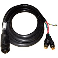 SIMRAD Simrad NSE Video/Comms Cable, MFG# 000-0129-001, 8 pin connector to bare wires for NMEA, and 2 RCA female for video input. 6.5 ft (2 m) in length. / SIM-000-00129-001 /