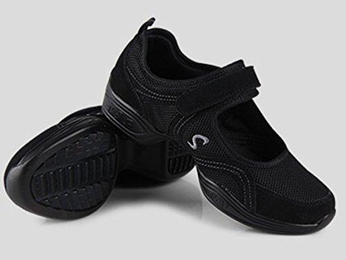 VECJUNIA Women Modern Softsole Split Heel Agility Practice Jazz Dance Shoes Black LGpnMy