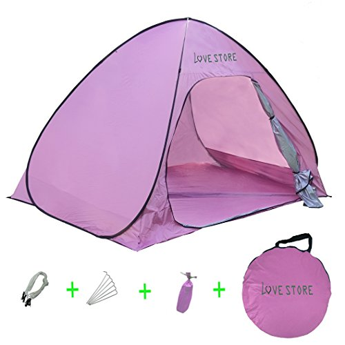 Sun Shelter Tent Instant Easy Pop Up Beach Umbrella Sport Automatic Instant Portable Outdoors Quick Beach Fishing Kids Tents 2- 3 person(pink)