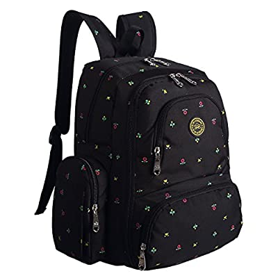 Diaper Bag Mummy Backpack Large Capacity Waterproof Multifunctional with Insulated 3 Bottle Pocket-Eco friendly