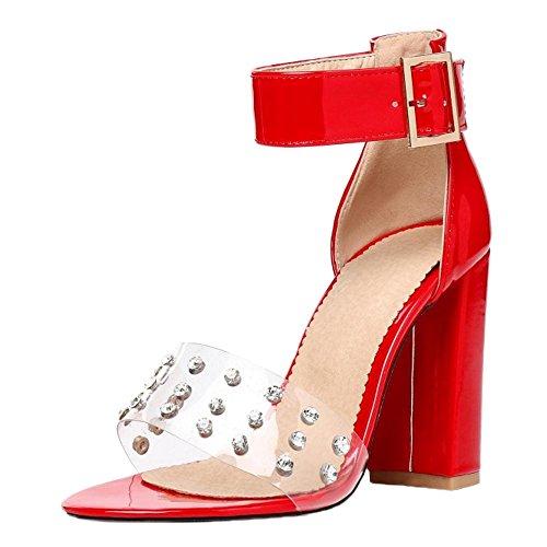 Chunky Red Femmes Talons Mode Sandales JOJONUNU qag6Za