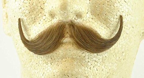 Handlebar Mustache LIGHT BROWN - Spirit Gum Included - 100% Human Hair - no. 2013 - REALISTIC! Perfect for Theater - Reusable!