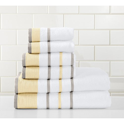 - PH 6 Piece Gold Grey Stripe Towel Set with 30 X 54 Inches Bath Towels, Yellow Gray White Striped Solid Color Ultra Plush Elegant Sophisticated Fade Resistant Trendy Long Lasting, Turkish Cotton