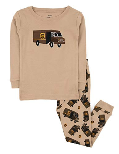 Leveret Boys UPS Truck 2 Piece Pajama Set 100% Cotton Beige 2 Toddler
