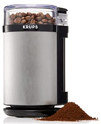 KRUPS GX4100 Electric Spice Herbs and Coffee Grinder with Stainless Steel Blades and Housing, 3-Ounce, Gray