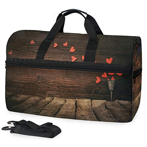 Gym Bag Valentines Day Background Duffle Bag Large Sport Casual Fashion Bag for Men Women