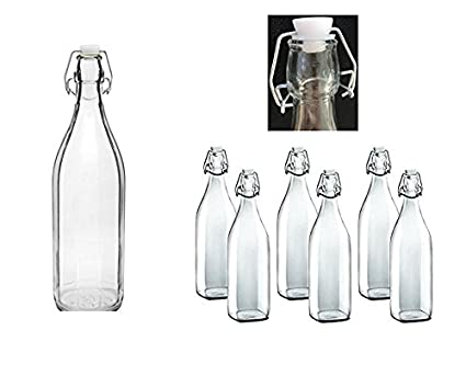 6 Swing Top Botella 1L botella con tapón estilo clásico claro cristal calidad Swing botella de