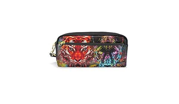 Estuche estuche con cremallera grande bolsa de maquillaje Tiger Leopard estuche para lápices para niños y niñas suministros escolares: Amazon.es: Oficina y papelería