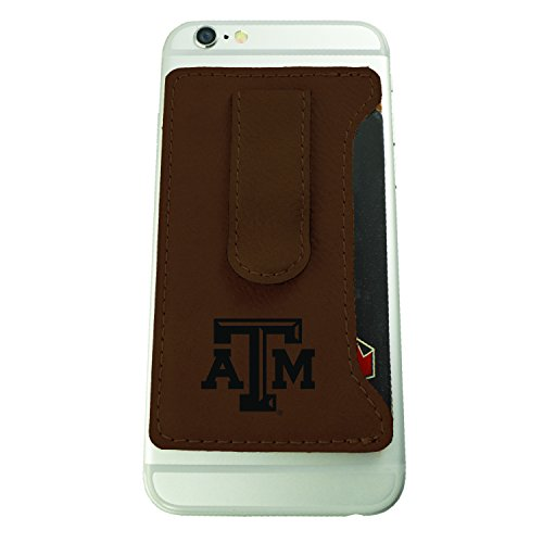 Texas A&M University -Leatherette Cell Phone Card Holder-Brown