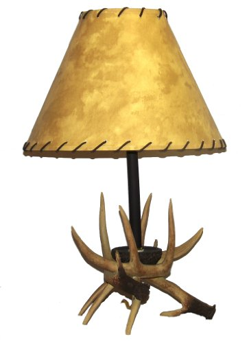 A Ray Of Light RAW89810 Antler Table Lamp with Faux Rawhide Stitched Leather Shade - Faux Antler Table