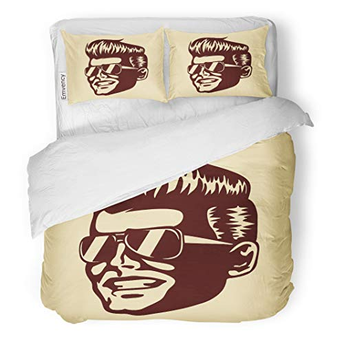 Semtomn Decor Duvet Cover Set Full/Queen Size Vintage Retro Cool Dude Man Face Sunglasses Rockabilly Pompadour 3 Piece Brushed Microfiber Fabric Print Bedding Set Cover]()
