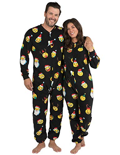 Footed Pajamas - Merry Emoji Xmas Adult Footless Fleece (Adult - Small2X/Dbl Wide (Fits 5'3-5'6