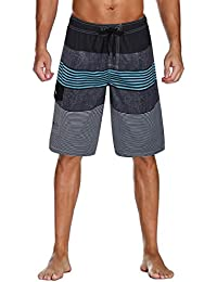 1290bce0061bc Men's Swim Trunks Colortful Striped Beach Board Shorts with Lining
