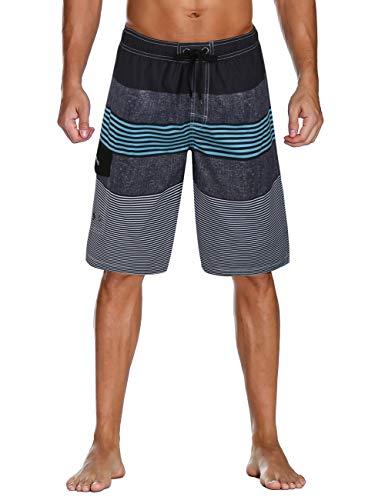 Unitop Men's Swim Trunk Quick Dry Striped Print Surfing Shorts Blue-55 36