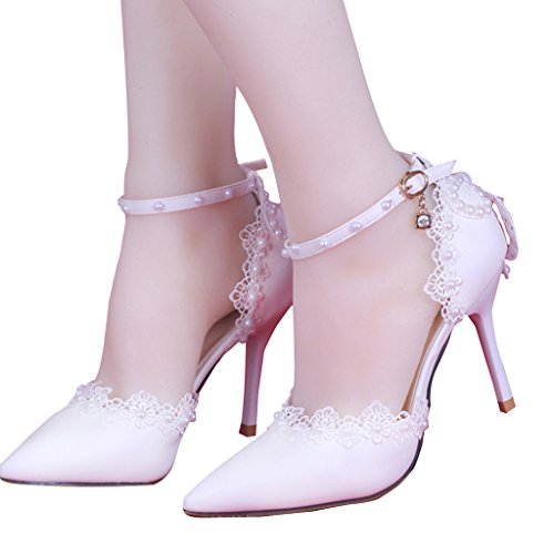 CLOCOLOR Women's Pointed Toe High Heel Lace Pearls Ankle Strap Pumps Wedding Shoes Size 7.5 White