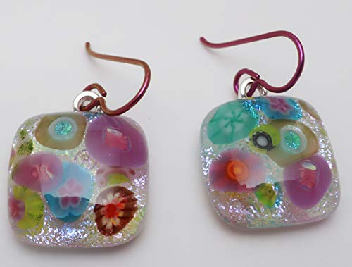 Flower bouquet pink blue green fused dichroic glass earrings Hypo allergenic Niobium ear wires #242